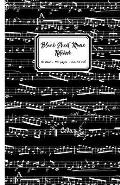 Blank Sheet Music Notebook: Black Music Notes Cover, 10 Stave Staff Paper, 100 Pages, 5.5x8.5 Inch Music Manuscript Paper Musicians, Small Approx