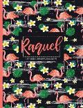 Raquel: Black Personalized Lined Journal with Inspirational Quotes