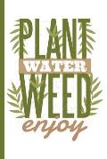Plant Water Weed Enjoy: Cannabis Rating Journal Notebook: Personal Marijuana (Medical & Recreational Use) Review for Pain, Anxiety, Depression