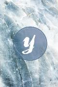 Y: Monogram Initial Notebook for Women, Girls, Men, Boys and School Blue Marbler 6 x 9