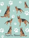 Composition Notebook: German Shepherd Dog Paw Prints Cute School Notebook 100 Pages Wide Ruled Paper