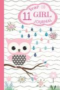 11 Year Old Girl Journal: Pink Owl Happy Birthday Notebook for Eleven Year Old Kids to Keep Memories, Draw and Write, Cute Diary with Wide Ruled