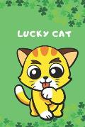 Lucky Cat: 6x9 Unique Diary - 100 Blank Lined Pages - Shamrock and Luck Inspired Green Composition Book