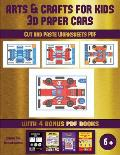 Cut and Paste Worksheets PDF (Arts and Crafts for kids - 3D Paper Cars): A great DIY paper craft gift for kids that offers hours of fun