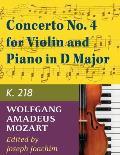 Mozart W.A. Concerto No. 4 in D Major K. 218 Violin and Piano - by Joseph Joachim - International