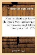 Note Justificative En Forme de Lettre ? Mgr. l'Archev?que de Toulouse