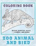 Zoo Animal and Bird - Coloring Book - Moose, Marten, Sloth, Lioness, and more