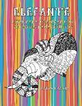 Letra grande - Libro para colorear con animales para adultos - Elefante
